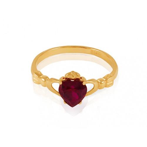 982e8cb7dd45 Золотые кольца   Золотое кладдахское кольцо с выращенным рубином к-647-017