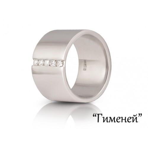 Обручальное кольцо широкое из белого золота